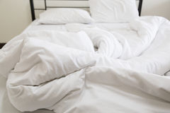 View of an unmade bed Stock Image