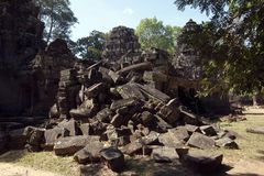 View of unrestored buildings in the 12th Century Ta Som temple complex. Scene around the Angkor Archaeological Park. The site contains the remains of the Royalty Free Stock Images