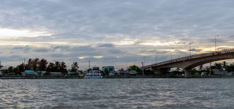View on unset over Mekong river by Can Tho in Vietnam. Dawn in early morning over Mekong river, Can Tho in Vietnam royalty free stock photos