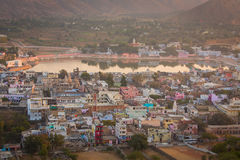 View from up of colorful Pushkar City, India Stock Photos