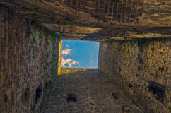 View up from the foot of the medieval tower. Stock Images