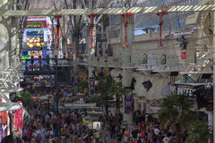 View from up high down Fremont Street Royalty Free Stock Photo