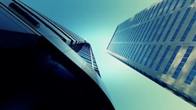 View up of skyscrapers stock video footage