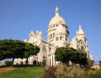 View up towards the Sacre Coeur. Montmartre hill leads towards the Sacre Coeur church in Paris royalty free stock photography