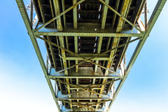 View up under a bridge. Royalty Free Stock Photography