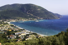 View from up of Vasiliki village at Lefkada - Summer coast Stock Photo