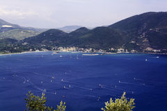 View from up of Vasiliki village at Lefkada - Summer coast Royalty Free Stock Photography