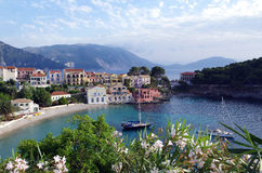 View from uphill on Assos, Kefalonia. Greece, authentic village Stock Photo