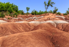 View of uphill red-orange  badlands background Stock Image