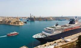 View from the Upper Baccarra Garden. Valletta, Malta Grand harbor Stock Photos