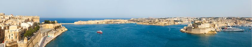View from the Upper Baccarra Garden. Valletta, Malta Grand harbor Royalty Free Stock Images