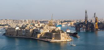 View from the Upper Baccarra Garden. Valletta, Malta Grand harbor Stock Image