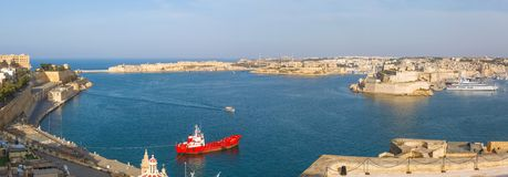View from the Upper Baccarra Garden. Valletta, Malta Grand harbor Royalty Free Stock Photo