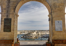 View from the Upper Barraka garden on the harbor of the Valletta city, capital of the Malta island Stock Photos