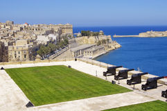 View from upper Barrakka Gardens. Of saluting battery and Grand Harbor of Valletta, Malta Royalty Free Stock Photography