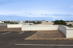 View of Upper Buildings from Vacant Rooftop Parking Lot Stock Photography