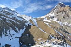 View of upper camp and Thorung La pass. Annapurna trek, Himalaya mountains, Nepal. Stock Photo