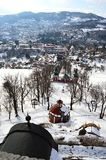 View from upper church of baroque calvary of Banska Stiavnica, Slovakia. Chapels on way of the cross, central and lower church. Visible. Taken during sunny day Stock Photo