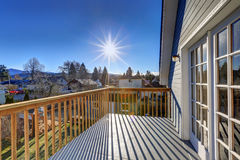 View from the upper deck of craftsman home. Exterior of blue craftsman house with nice view from the second floor deck. Northwest, USA Royalty Free Stock Photos
