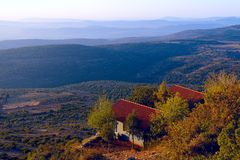 View of the Upper Galilee Kineret lake from mountain Royalty Free Stock Photos