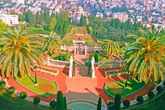 View from the upper terrace of Carmel Mountain to the Bahai Gardens and the Baha`i Temple and Haifa City in Israel. royalty free stock photos