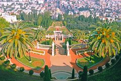 View from upper terrace Carmel Mountain to the Bahai Gardens Baha`i Temple and Haifa City in Israel. stock photo