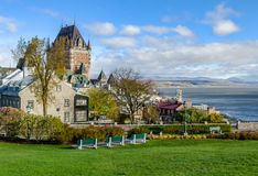 View of Upper Town of Old Quebec City in Quebec, Canada stock photo