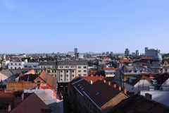 View from Upper town, Zagreb, Croatia royalty free stock photo