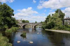 Miller bridge over River Kent in Kendal, Cumbria. View upstream to Miller Bridge over the River Kent in Kendal, Cumbria, England Stock Photo