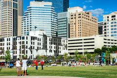 View at uptown Charlotte in daylight with people on a background Stock Photography