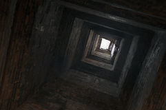 A view upwards inside the tower. Stock Image