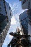 View upwards between skyscrapers in Singapore Stock Photos