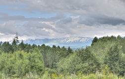 View on Ural mountains in a cloudy day, HDR image Stock Photos