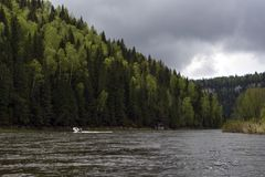 View of the Ural river Usva, the Chusovaya tributary stock photography