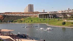 View of an urban lake stock video
