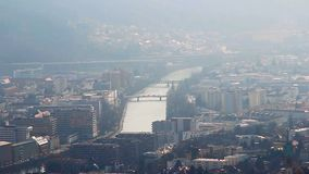 View of urban landscape, smog, ecology problem in big city. Stock footage stock footage