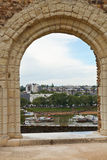 View of urban port from Angers Castle Royalty Free Stock Photos