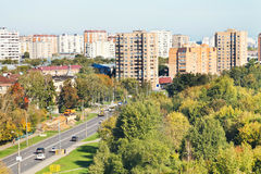 View of urban street in sunny autumn day Royalty Free Stock Images