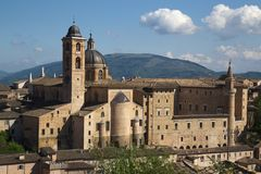 Urbino, art city of marche region, italy, europe. View of urbino, ancient walls and palaces , in urbino, marche region, in italy, europe Royalty Free Stock Photos