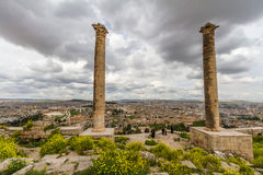 A view from Urfa. Photo taken from Urfa Castle two pillar, some castle structures and the city is on the picture Royalty Free Stock Images