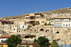 View of Urgup town with cave houses. Cappadocia. Turkey Stock Photo