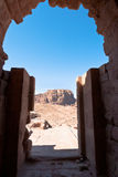 View from Urn Tomb to mountain dessert in Petra Stock Photography