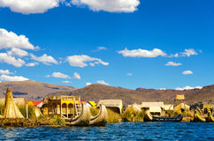 View of Uros Floating Islands Royalty Free Stock Photography