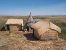 View of the Uros floating reed islands,  Lake Titicaca, Puno Region, Peru Royalty Free Stock Image