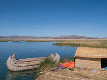 View of the Uros floating reed islands,  Lake Titicaca, Puno Region, Peru Stock Photography