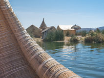 View of the Uros floating reed islands,  Lake Titicaca, Puno Region, Peru Stock Image