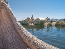 View of the Uros floating reed islands,  Lake Titicaca, Puno Region, Peru Stock Photos
