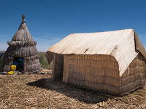 View of the Uros floating reed islands,  Lake Titicaca, Puno Region, Peru Stock Images
