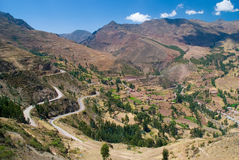 View of the Urubamba valley from the Pisac ruins,. A vital Inca road once snaked its way up the canyon that enters the Urubamba Valley at Pisac. The citadel, at Royalty Free Stock Images