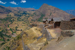 View of the Urubamba valley from the Pisac ruins, Royalty Free Stock Photography